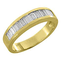 14k Yellow Gold Men's Baguette Cut Channel Set 1 Carat Diamond Ring