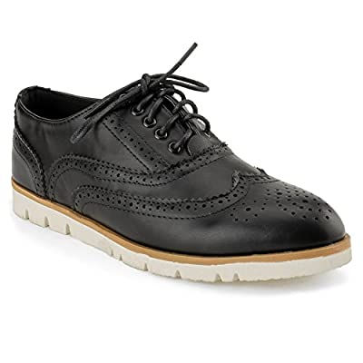 RF ROOM OF FASHION Women's Wing Tip Saddle Lace up Platform Oxford Flats