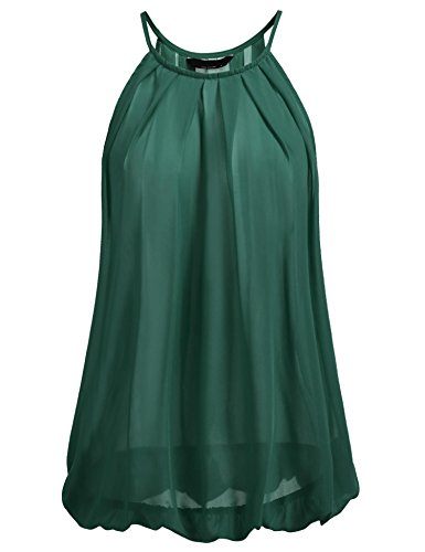 Pinspark Women's Flowy Sleeveless Chiffon Tunic Pleated Sheer Halter Camisole,Dark Green,XX-Large (Ruffle Front Halter Top)