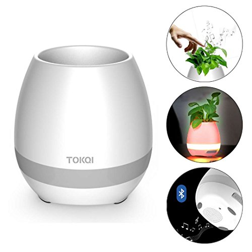 Music Flower Pot, Wireless Bluetooth Speaker, LED Light Smart Touch Music Flower Pot by, Multicolor Night Light, Play Piano Music on a real plant with colorful LED lights (Plant not included) (White)