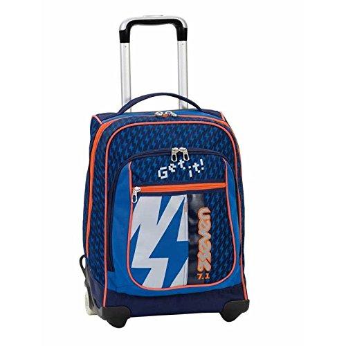 2 in 1 ZAINO TROLLEY SEVEN ROUND - TAG FLASH UP - COLOR CHANGE - Blue Arancione - spallacci a scomparsa! 37 LT - Scuola e viaggio