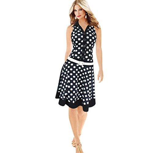 Low Waist Dress - POCCIOL Women Polo Neck Polka Dot Sleeveless Print Dress Low-Waistline Swing Dresses (Black, M)