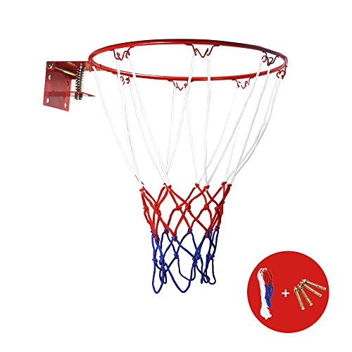 ZUINIUBI Basketball Rim and Net Portable Collapsible Wall Mounted Hanging Baketball Goal Hoop Toy for Kids Indoor and Outdoor Sports 32cm 12.6' Red