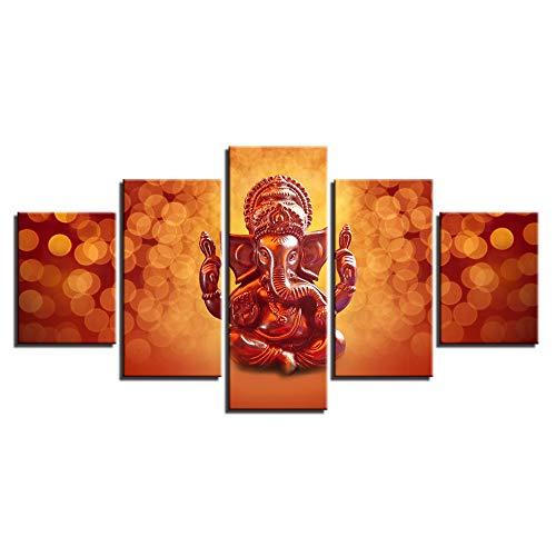 kkxdpq 5 Pieces Painting India Elephant God Ganapati Lord Ganesha Modular Wallpaper HD Print On Canvas Wall Art Waterproof Home Decor Picture C,Frameless