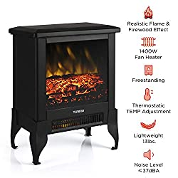"""TURBRO Suburbs TS17 Compact Electric Fireplace Heater, Freestanding Stove Heater with Realistic Flame - CSA Certified - Overheating Safety Protection - for Small Spaces - 17"""" 1400W by TURBRO"""