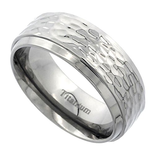 Titanium 8mm Wedding Band Hammered Ring Flat Beveled Edges Polish Finish Comfort Fit, size - Wedding Fit Hammered Band Comfort