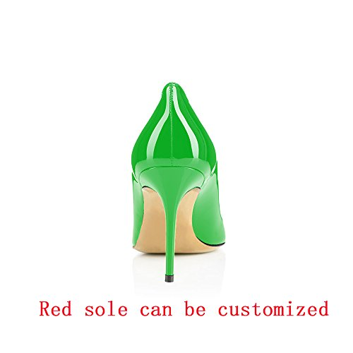 Business 85mm Toe Pointed Women's Shoes Pumps Stiletto Green Slip on Modemoven Office Sexy High Heels qEO0xq