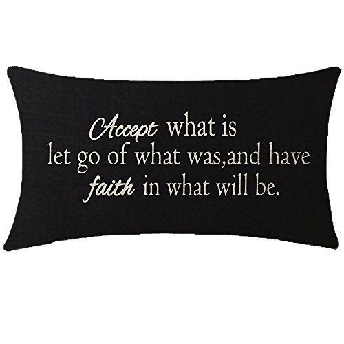 NIDITW Nice Gift Inspirational Words Accept What is Let Go Waist Lumbar Black Cotton Linen Throw Pillow case Cushion Cover for Sofa Home Decorative Oblong 12x20 Inches (Pillows With Words)
