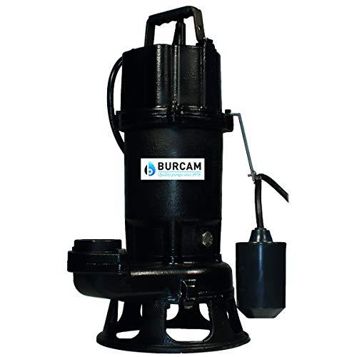 BURCAM 400701P 1 HP Submersible Sewage Grinder Pump Black