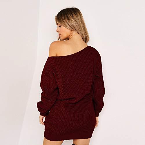Robe Mode Épaule femmes Robe Dress Maxi Vin Ihengh Froide Soirée Pull Mini Tricotée Longues Rouge Manches 2E9HID
