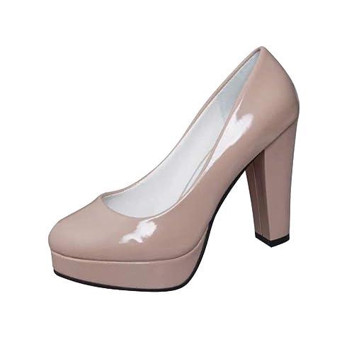 c90e725117351a Yudesun Chaussures Femme Escarpins - Plateforme Bloc 10cm Bout Rond Briller  Charmes Pumps Rétro Chaussures d