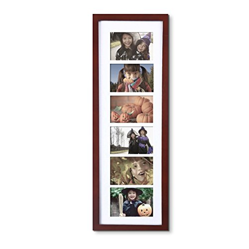 Graduation Photo Wall Hanging - Adeco Decorative Walnut Color Wood Wall Hanging Picture Photo Frame with Mat, 6 Openings, 3.5x5