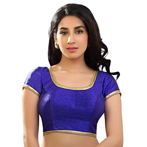 Pure Dupion Silk - Designer Indian Traditional Royal-Blue Dupion Silk Padded Half Sleeves Saree Blouse Choli (X-287)