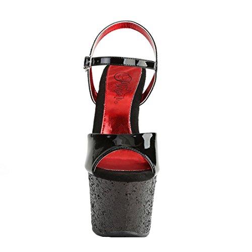 Pleaser Damen Sandalen Schwarz Blk Pat/Blk-Red Glitter Blk Pat/Blk-Red Glitter