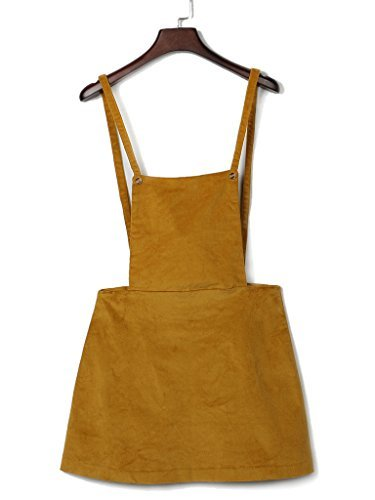 Suspender Overall Women Skirt Corduroy Yellow Clothink Mini Dress Yellow ZxtfnwF