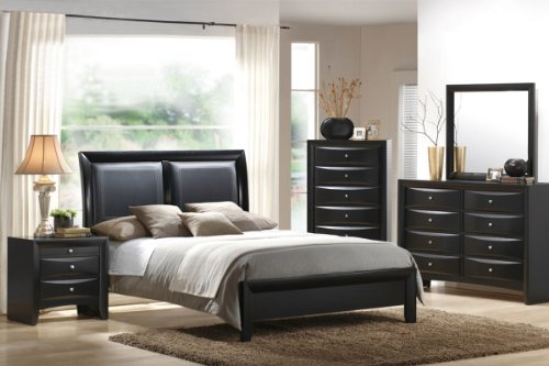 5 pc Singleton II collection deep espresso finish wood queen black faux leather upholstered headboard bed set
