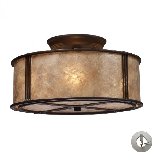 Elk Lighting 15031/3-LA Barringer 3 Light Aged Bronze and Tan Mica-Includes Adapter Kit Semi Flush Mount,