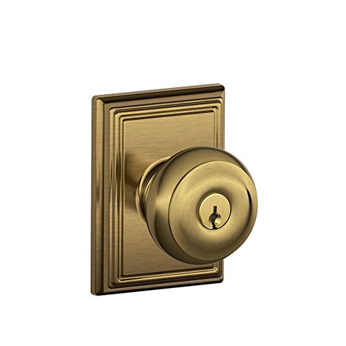 Geo 609 Entry - Schlage F51A GEO 609 ADD Georgian Knob with Addison Trim Keyed Entry Lock, Antique Brass