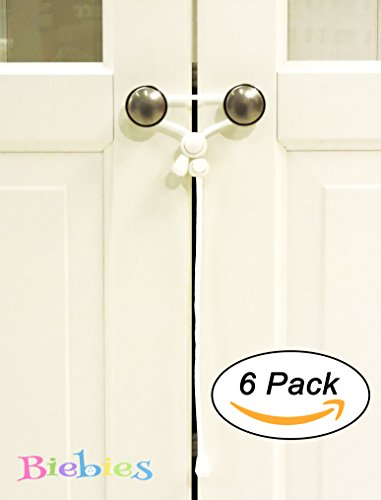 Biebies (6 Pack) Baby Safety Cabinet Locks Strap For Home & Kitchen Door Knobs Baby Proofing Cabinet Latches With No Screw No Adhesive Tapes (White)
