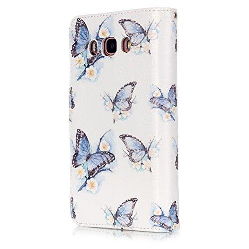 PU Smartphone Samsung Galaxy J5(2016) J510móvil, (Ranura 9) funda de piel para Samsung Galaxy J5(2016) J510funda Flip cover funda Libro con tarjetero función atril magnético + Polvo Conector marró 1