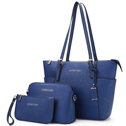 Mujer Nuevo Compuesto Bolsa De Tres Piezas Traje Europa Y Estados Unidos Bolsos Moda Patrón Cruz PU bolso Bolsa Blue
