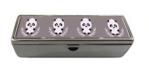 Bamboo Custom Mirror (Cute pandas in bamboo leave Custom Lipstick Box With Mirror And Velvet Lining Lipstick Holder Cosmetic Box Jewelry Box)