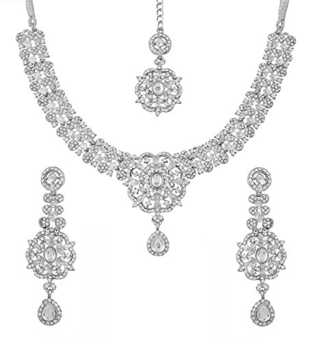 Touchstone Indian Bollywood Enchanting Floral Diamond Studded Look White Rhinestone Embellished Bridal Designer Jewelry Necklace Set for Women in Silver Tone