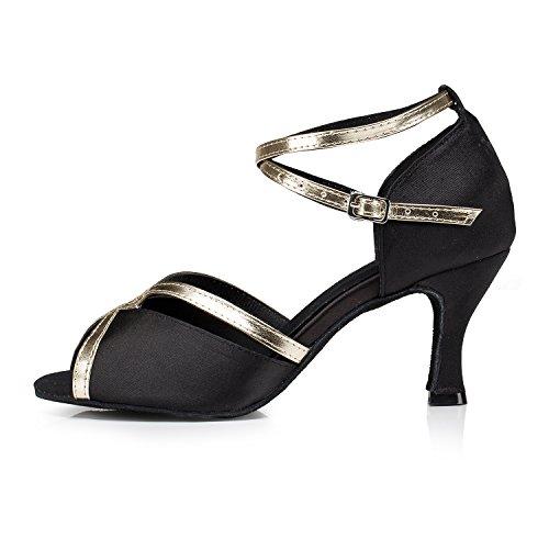 Miyoopark - salón mujer Black/Gold-7.5cm heel