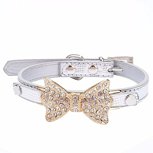haoricu Crystal Bowknot Small Pet Collar Dog Adjustable Leather Buckle Neck Strap Collar (XS, - Silver Basic Buckle