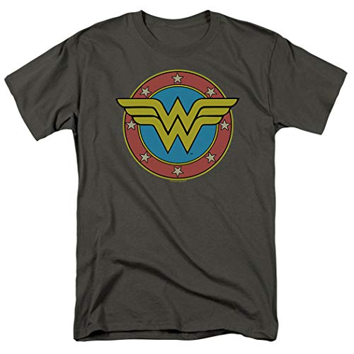 (Wonder Woman Vintage Logo DC Comics T Shirt & Exclusive Stickers (Small) Charcoal)