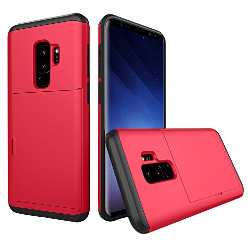 - Wallet Case for Samsung S9 Slim Impact Resistant Hybrid Protective Shell Shockproof Rugged Rubber Bumper Anti-Scratch Hard Cover Skin Card Holder with Sliding Back Door