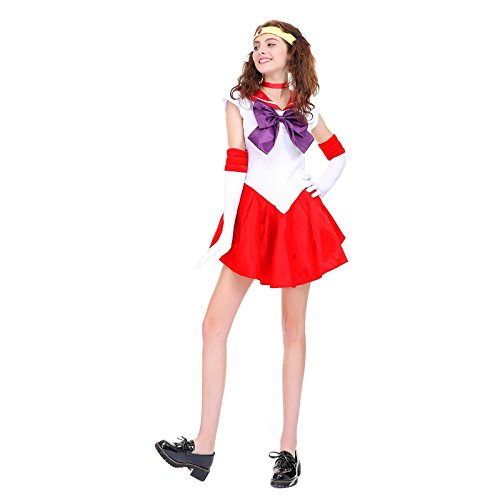 [Angelaicos Womens Color Block Bowknots Costume Dress (M, Red)] (Sailor Saturn Costume)