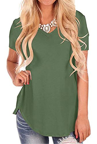 onlypuff Women's Crew Neck T Shirts Green V Neck Casual Short Sleeve Top XL
