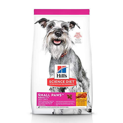 Hill's Science Diet Dry Dog Food, Adult 7+ for Senior Dogs, Small Paws for Small Breeds,, Chicken Meal, Barley & Brown Rice Recipe, 4.5 lb Bag