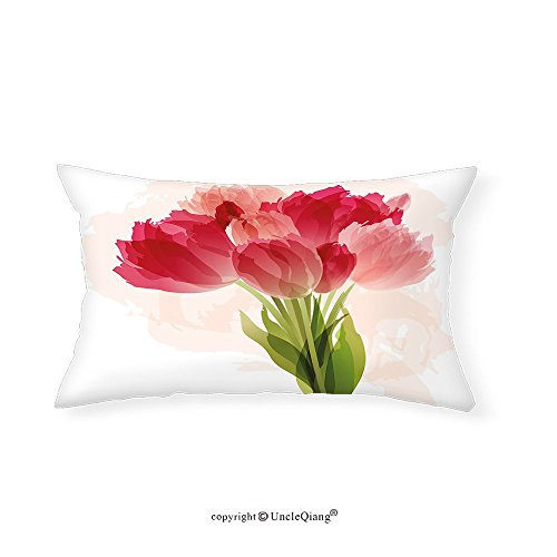 VROSELV Custom pillowcasesFloral Watercolor Painting Bouquet of Tulip Flower Artistic Botanical Romantic Print for Bedroom Living Room Dorm Pink Coral Green(12''x24'') by VROSELV