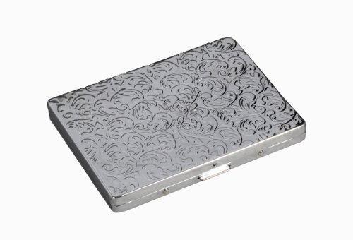 Engraved Vine - Chrome Id Card Case Holder and Wallet with Engraved Vine Pattern (Silver)