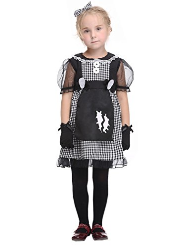 [ACVIP Girl's Vampire/Witch/Skeleton Halloween Parade Fancy Party Costume Set (4 years, dark bride)] (Dark Skeleton Bride Child Costumes)