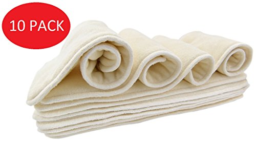 Bamboo Cloth Diaper Inserts for Pocket or Cover Diapers from Nora's Nursery - One Size Fits All (10 Pack, Soft Bamboo)