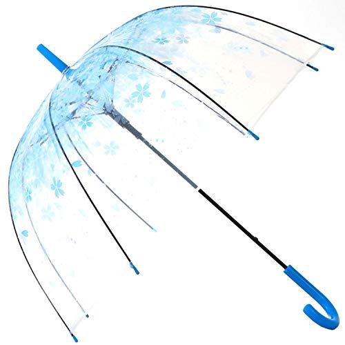 HAOCOO Cherry Blossoms Clear Umbrella,Bubble Transparent Dome Auto Open Umbrella Windproof for Outdoor Weddings (Blue)