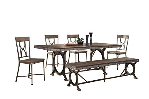 Hillsdale 5987DBT6 6 Piece Rectangle Dining Set, Brown/Gray