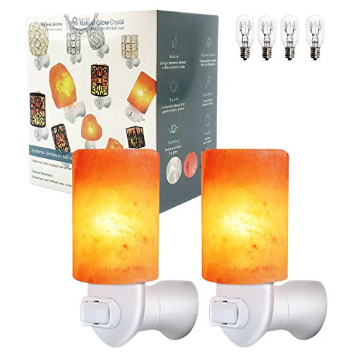 2 Pack Cylinder Mini Himalayan Salt Lamps Wall Night Light Crystal Salt Lamp Natural Air Purifier and Soft Night Lights for Living Dining Bed Room and Office