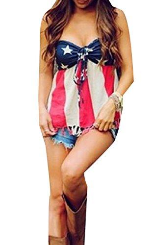Freely Women USA Flag Tube Top Backless Tassel Tank Top Pullover US Flag - Top Flag Tube