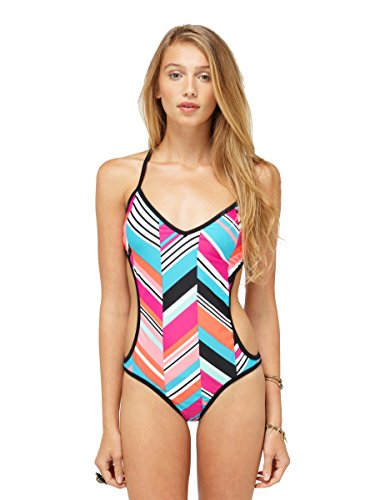 Roxy Juniors Wave Peak Criss Cross Monokini Swimsuit-Fuschia/multi-Small