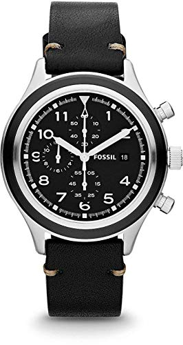 Fossil JR1440 Men's Compass Leather Band Black Dial Chronograph Watch