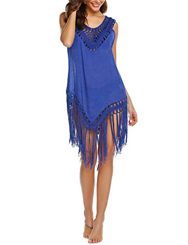 Hotouch Women's Chiffon Lace Tassel Sexy Swimsuit Beach Swim Cover-up Blue L