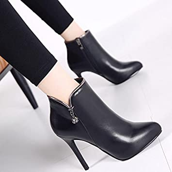 b8cc63e7b42a KHSKX-Black 10Cm Autumn And Winter Martin Boots Women Short Boots Sexy  Pointed High Heels