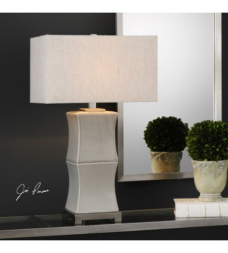 Table Lamps 1 Light with Aged Gray Glaze Ceramic Iron Rectangle Hardback 29 inch 150 Watts