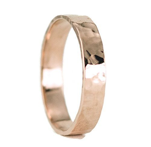 Rose Gold Wedding Ring - Hammered or Smooth 14k Gold Band - Choose Your Width and Thickness