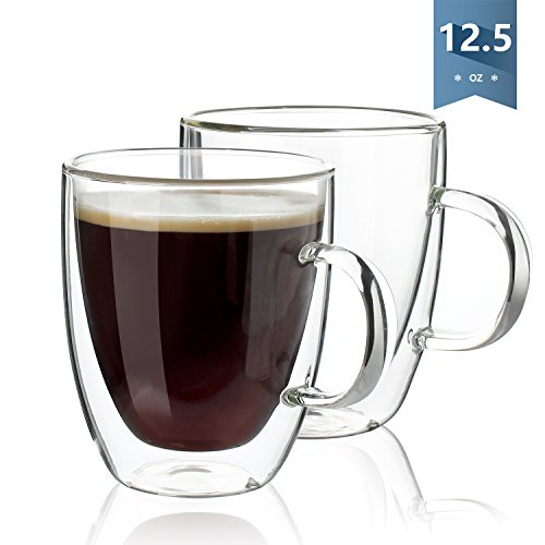 Glass Eagle Mug (Sweese Coffee Mugs - Double Wall Insulated Glasses with Handle - 12.5 Ounces, Set of 2)