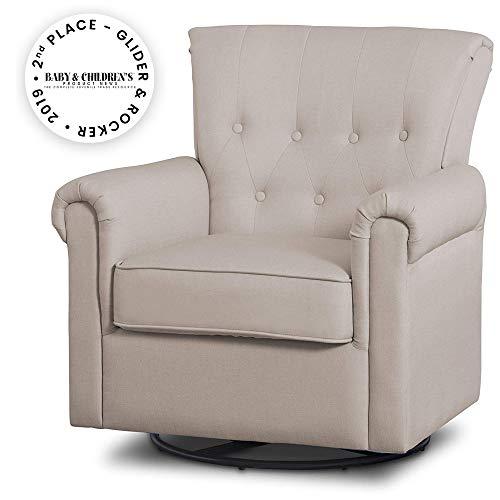 Delta Children Harper Glider Swivel Rocker Chair, Flax (Tufted Rocker Swivel)